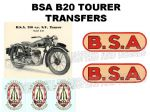 BSA B20 Tourer Transfer Decal Set DBSA188